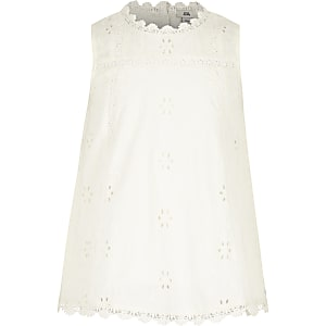 Girls white broderie round neck swing top