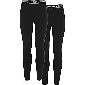 Set zwarte leggings met tailleband met RI-logo voor meisjes