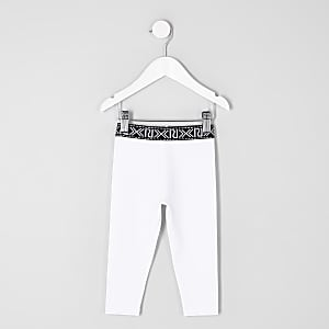 Mini girls white RI branded leggings