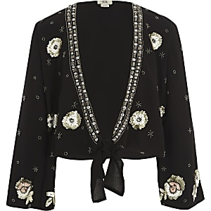 Girls black embellished tie front cover up