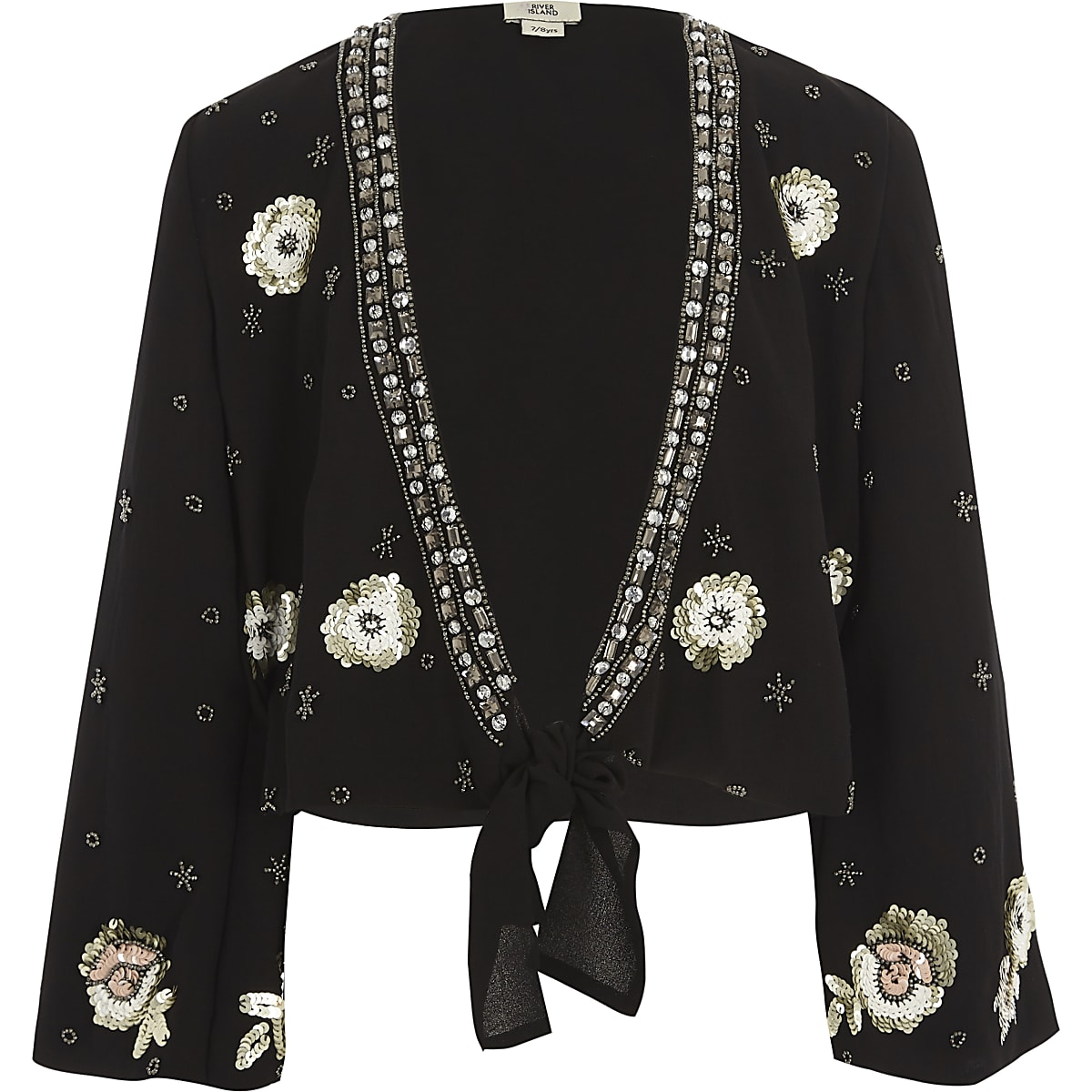 Girls black embellished tie front cover up