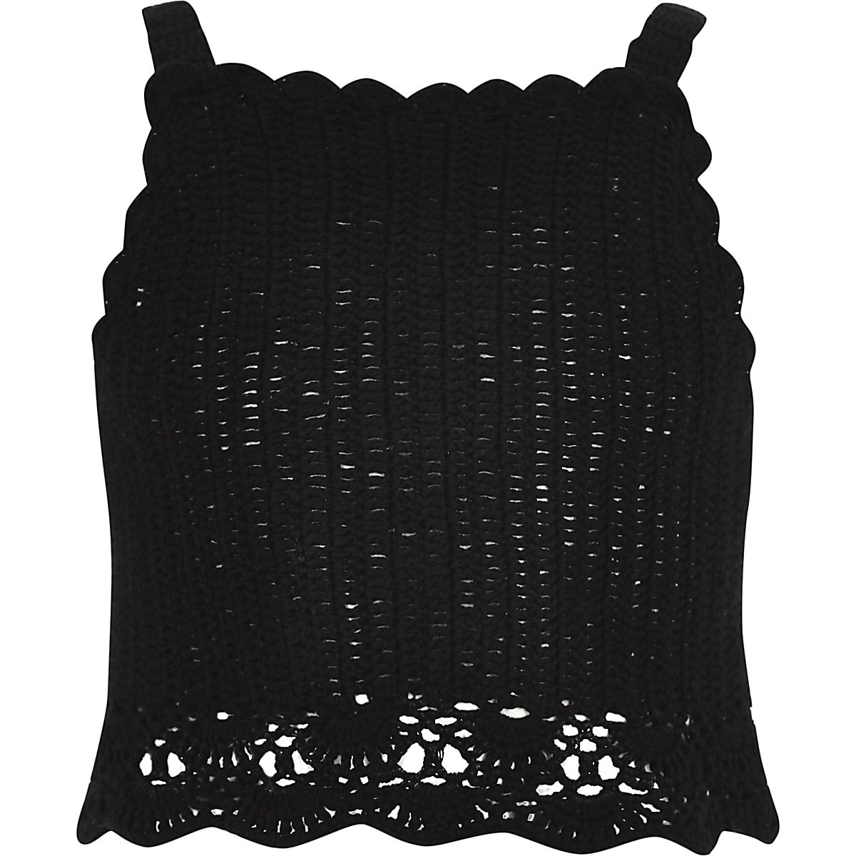 Girls black crochet cami crop top