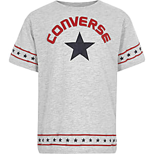 Girls Converse grey star trim T-shirt