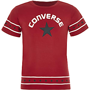 Girls Converse red star trim T-shirt