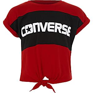 Converse – T-shirt colour block rouge noué devant pour fille