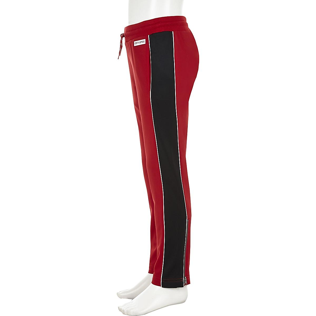 Girls Converse red straight leg joggers