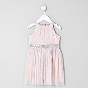 Robe de gala trapèze en tulle rose mini fille