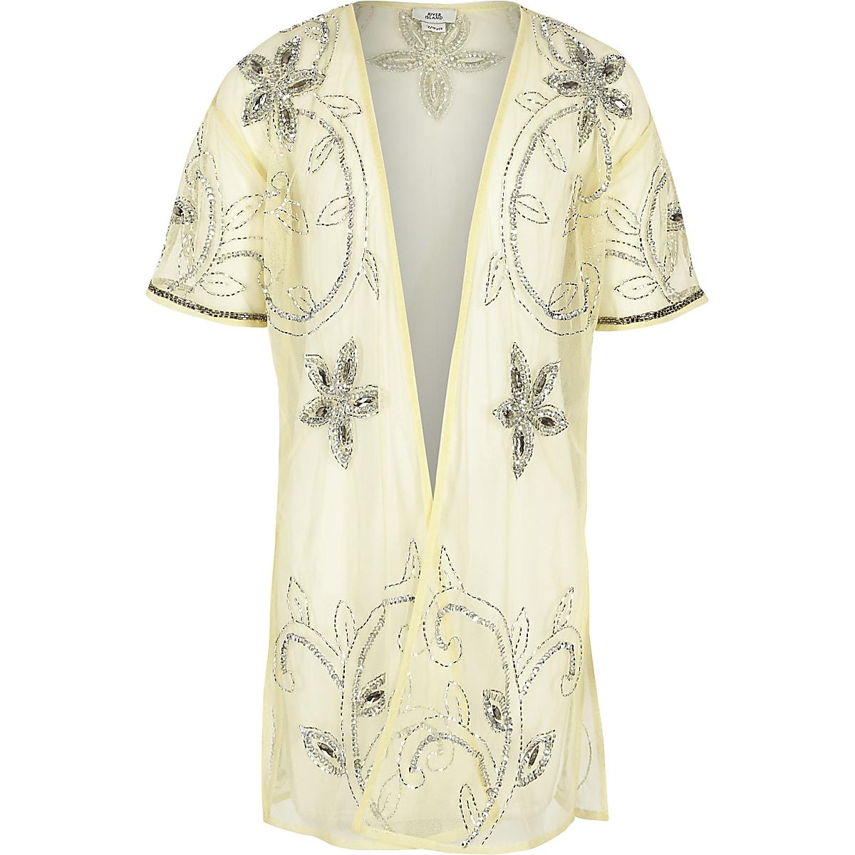 Girls yellow embellished longline kimono