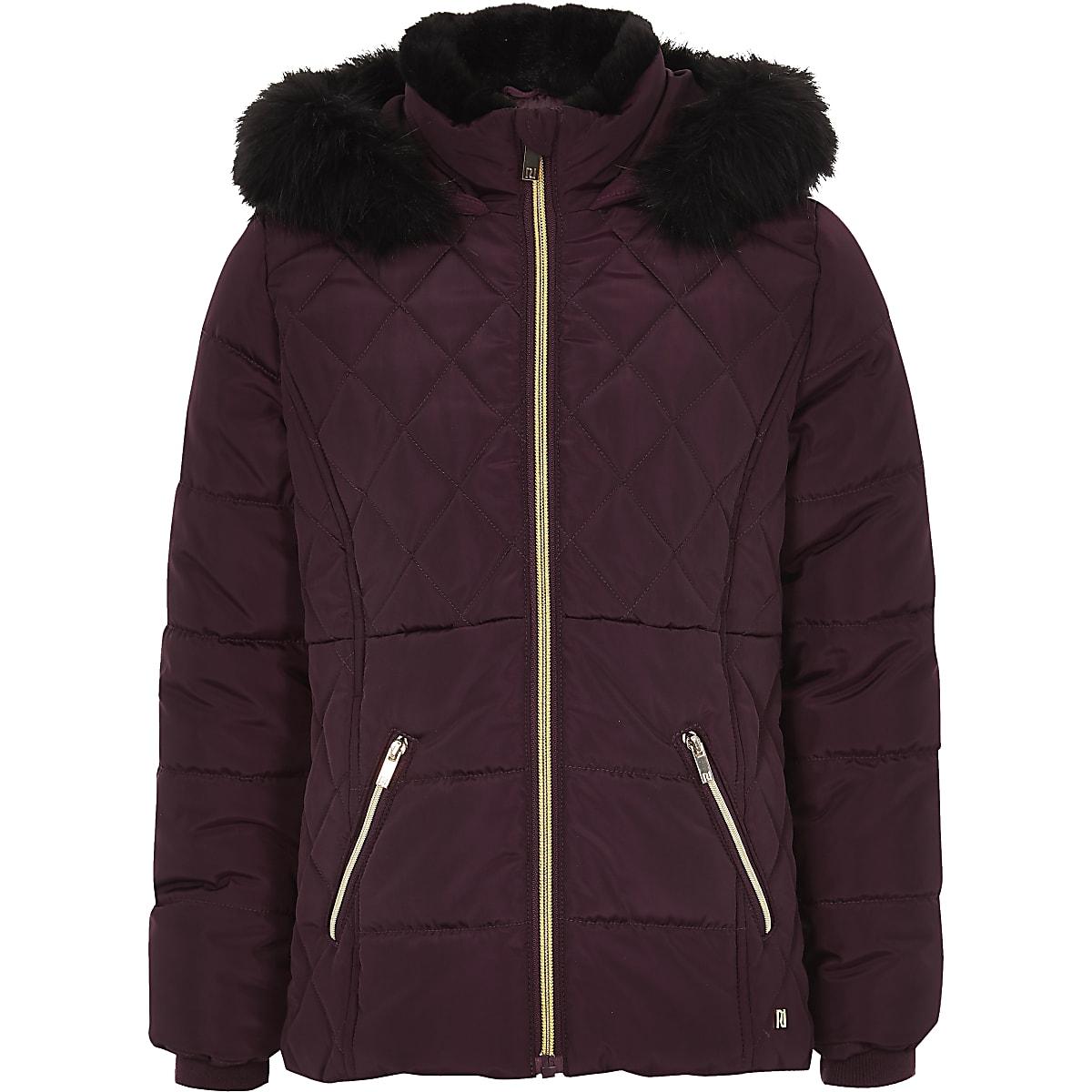 Girls dark red faux fur trim padded coat