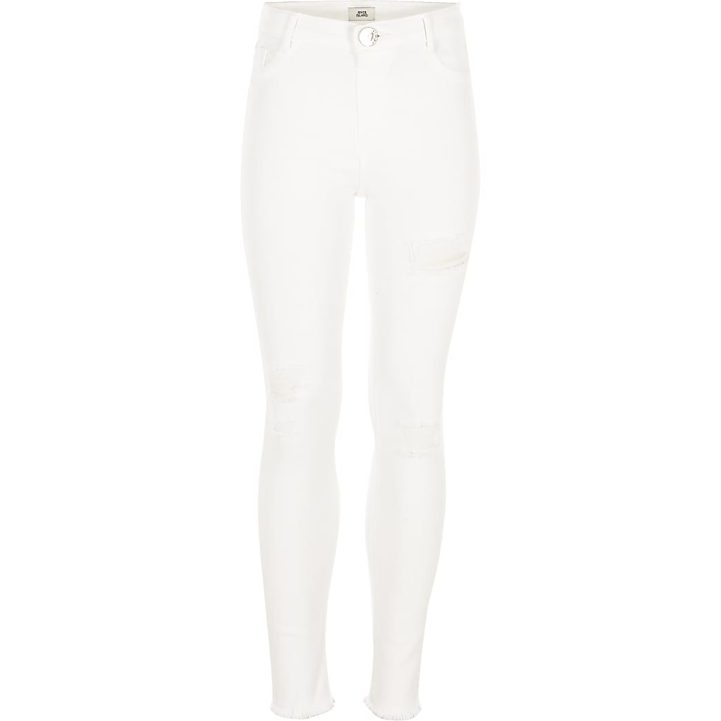 Girls white ripped Molly jeggings