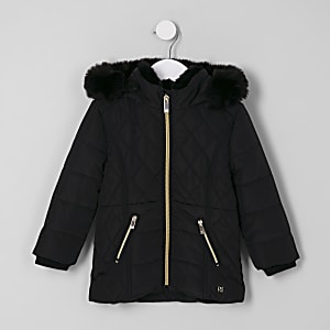 Mini girls black faux fur lined puffer coat