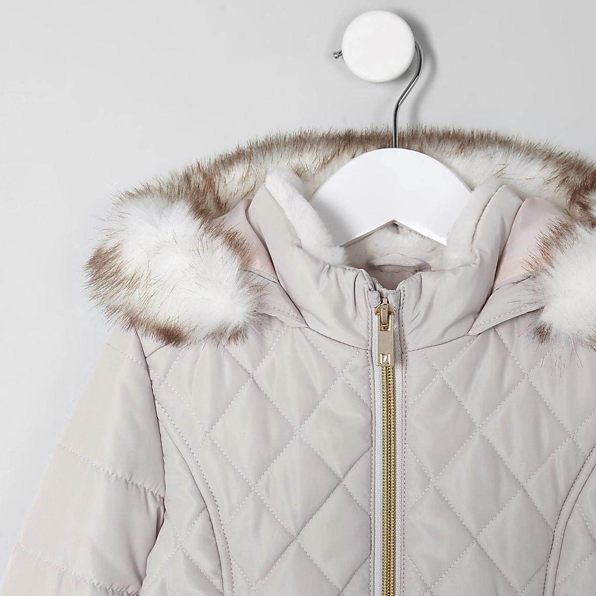 8737eedd6 Mini girls pink faux fur trim padded coat - Baby Girls Coats ...