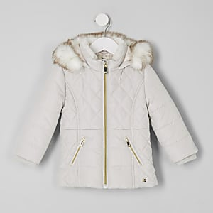 Mini girls pink faux fur trim padded coat