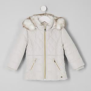 Manteau rembourré rose à bordure en fausse fourrure mini fille