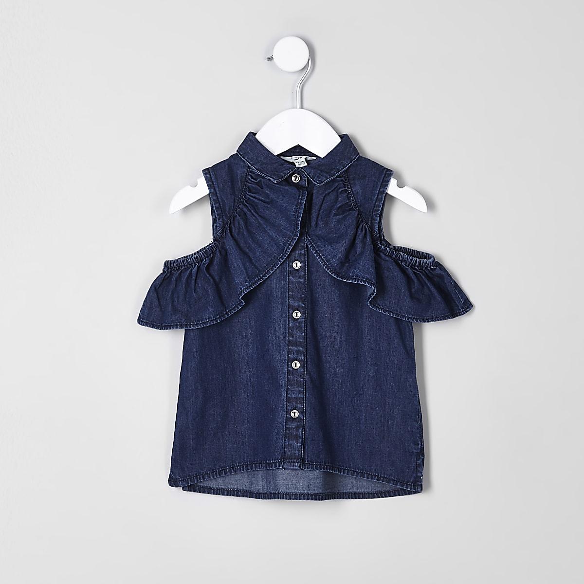 Mini girls blue denim bardot shirt