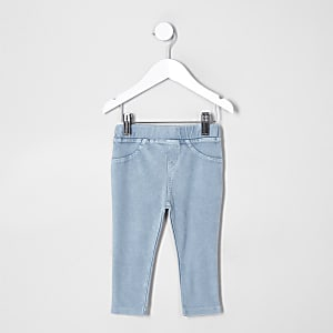 Blaue Leggings im Jeans-Look