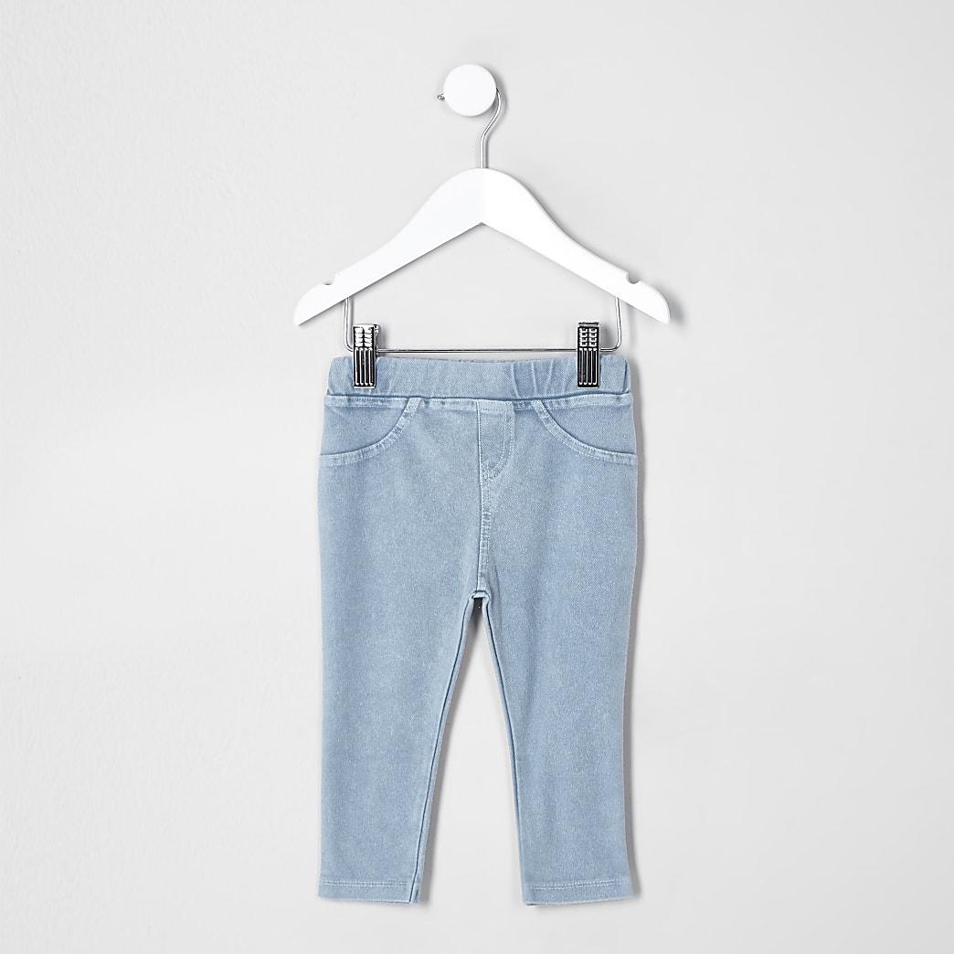 Mini kids blue denim look leggings