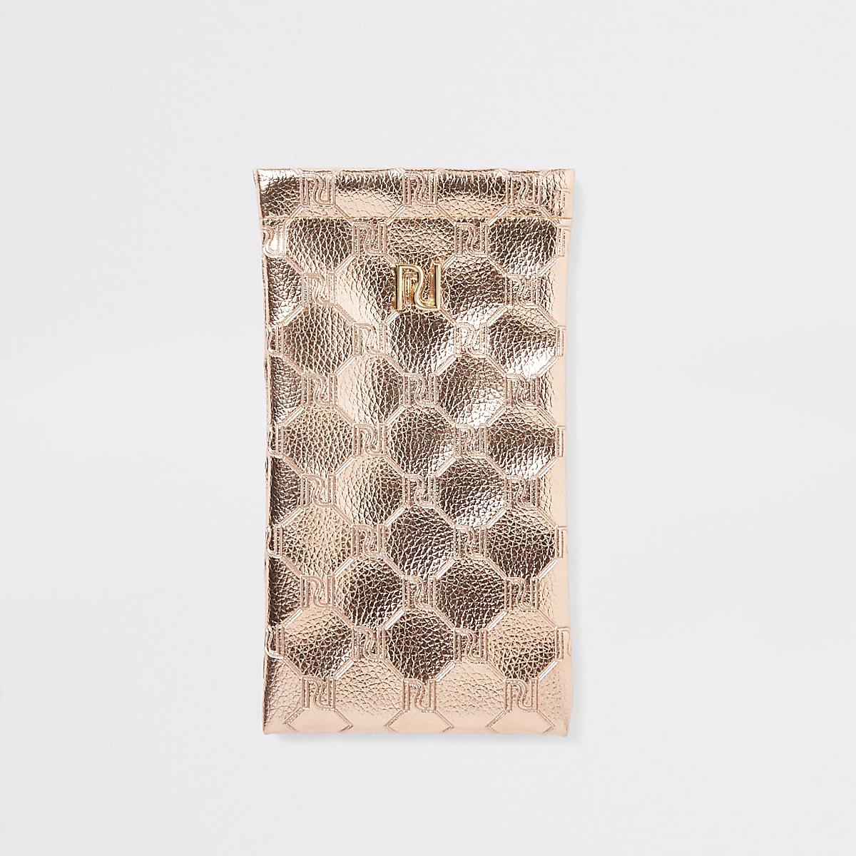 Rose gold metallic sunglasses case
