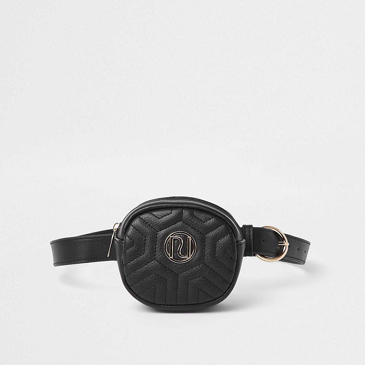 Girls black RI quilted bum bag