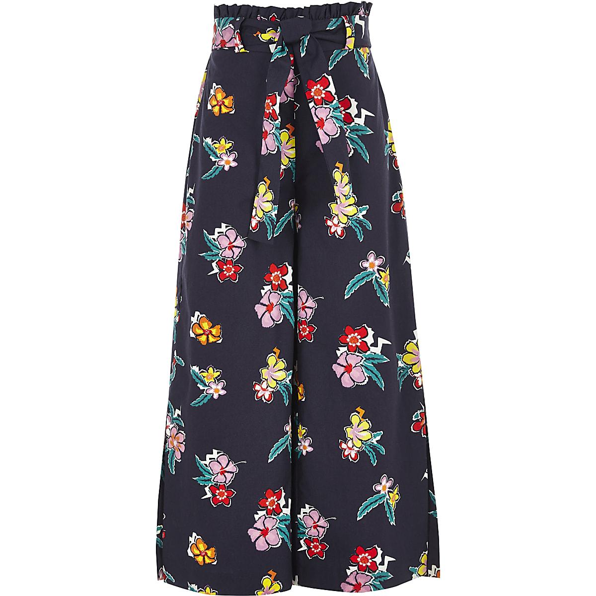 Girls blue paperbag waist wide leg trousers
