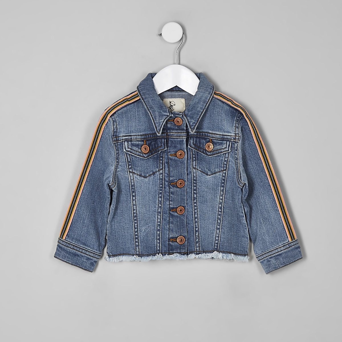 Mini girls blue tape sleeve denim jacket