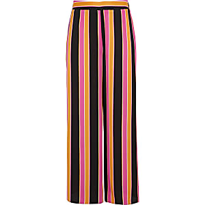 Girls orange stripe wide leg palazzo pants
