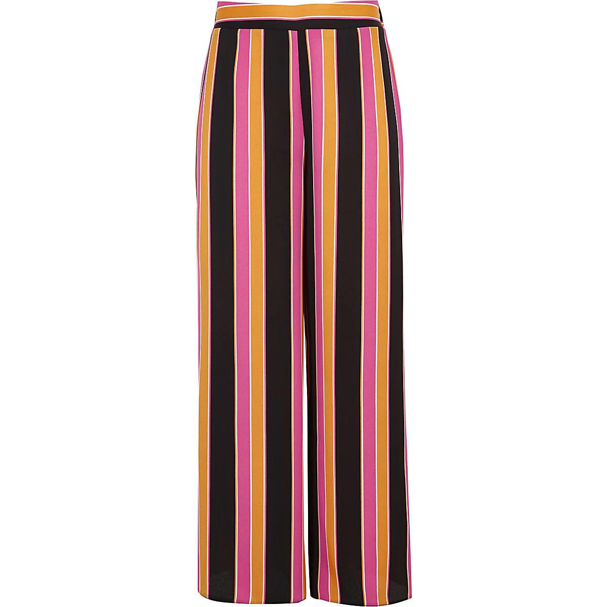 Girls orange stripe wide leg palazzo pants