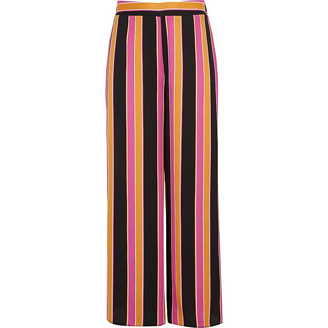 Girls orange stripe wide leg palazzo trousers