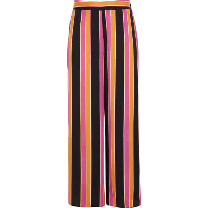 Girls orange stripe wide leg palazzo trousers