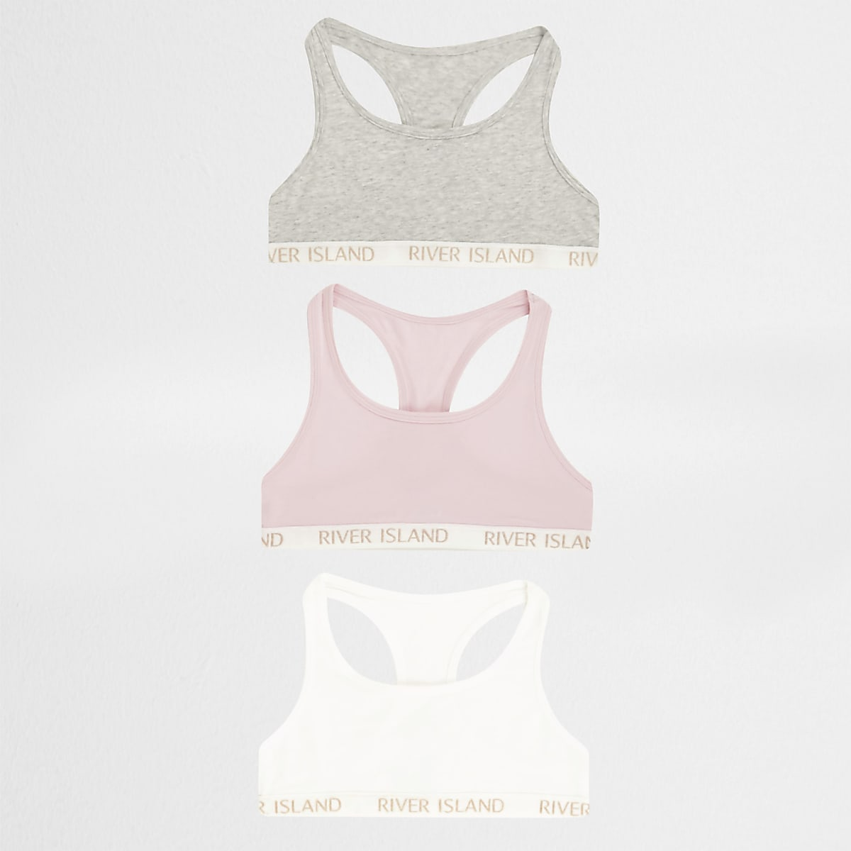 Girls pink racer back crop top multipack