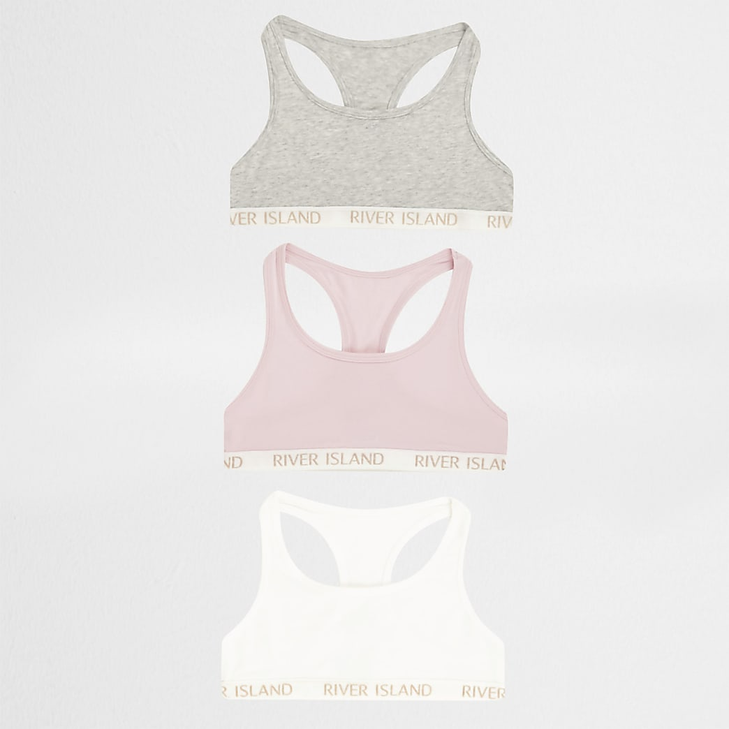 Girls pink racer back crop top 3 pack