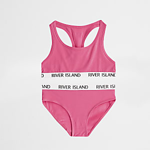 Girls bright pink racer crop and briefs set