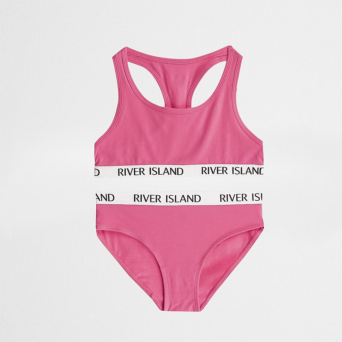 Girls bright pink racer crop and briefs set