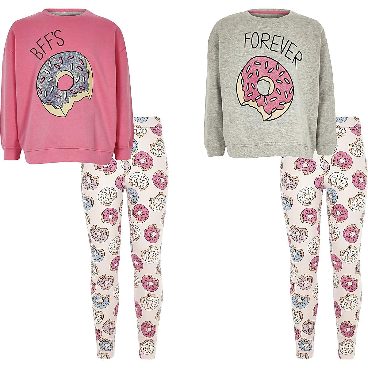 82637de7f1acc Lot de deux pyjamas motif donut et BFF gris pour fille - Pyjamas ...