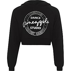 Zwarte korte hoodie met ananasprint voor meisjes
