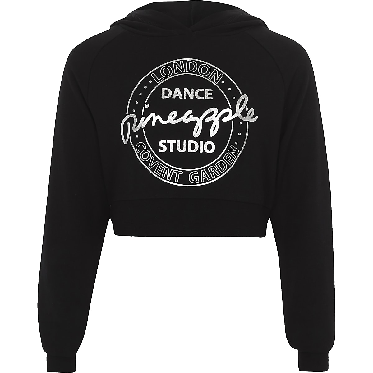 Girls black Pineapple embellished crop hoodie