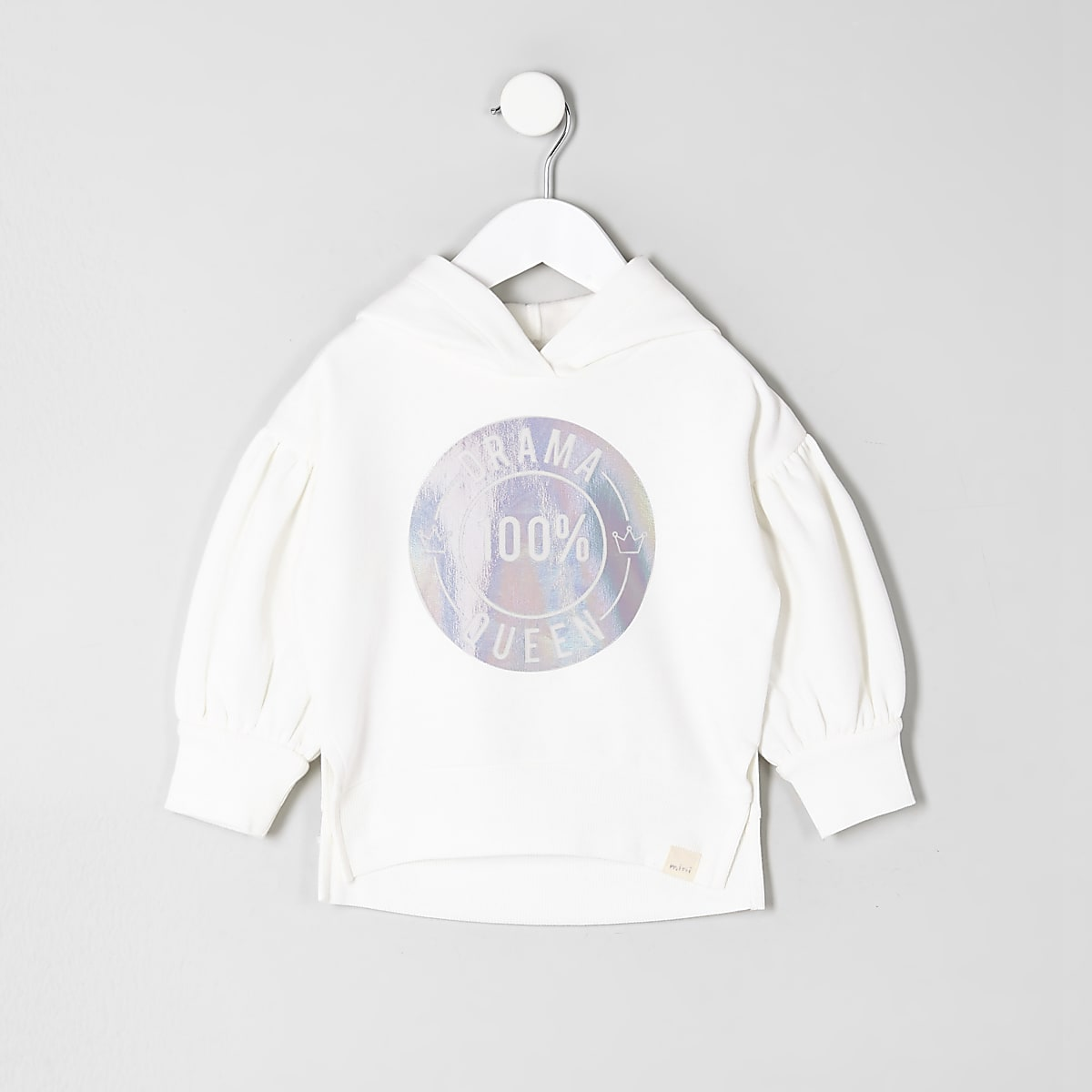 Mini girls cream 'drama queen' hoodie