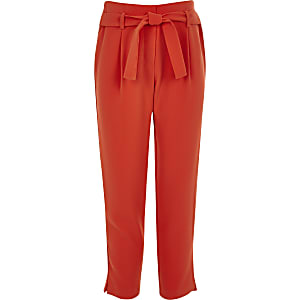 Girls red tie waist pants