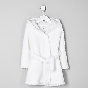 Robe de chambre crème duveteuse avec inscription RI mini fille
