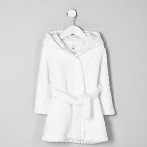 Mini - Crème pluizige badjas met RI-logo voor meisjes