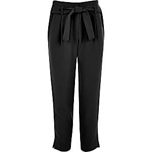 Girls black tie waist trousers
