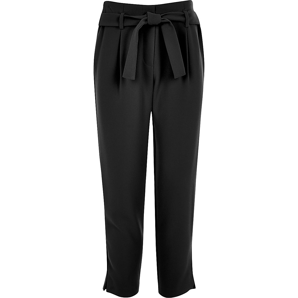 Girls black tie waist pants