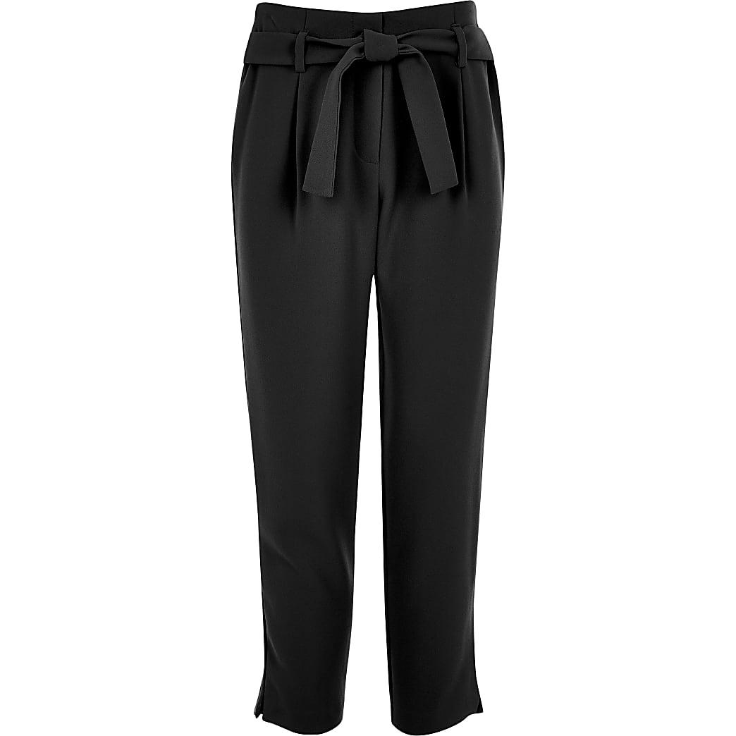 Girls black tie waist trousers
