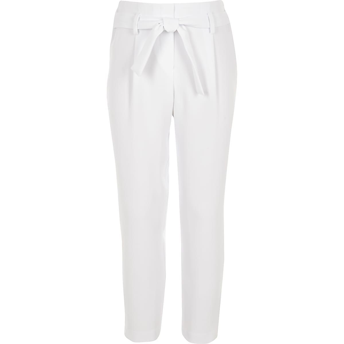 Girls white tapered tie waist pants