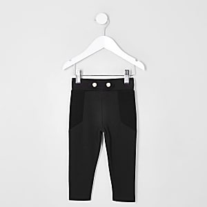 Mini girls black skinny ponte leggings