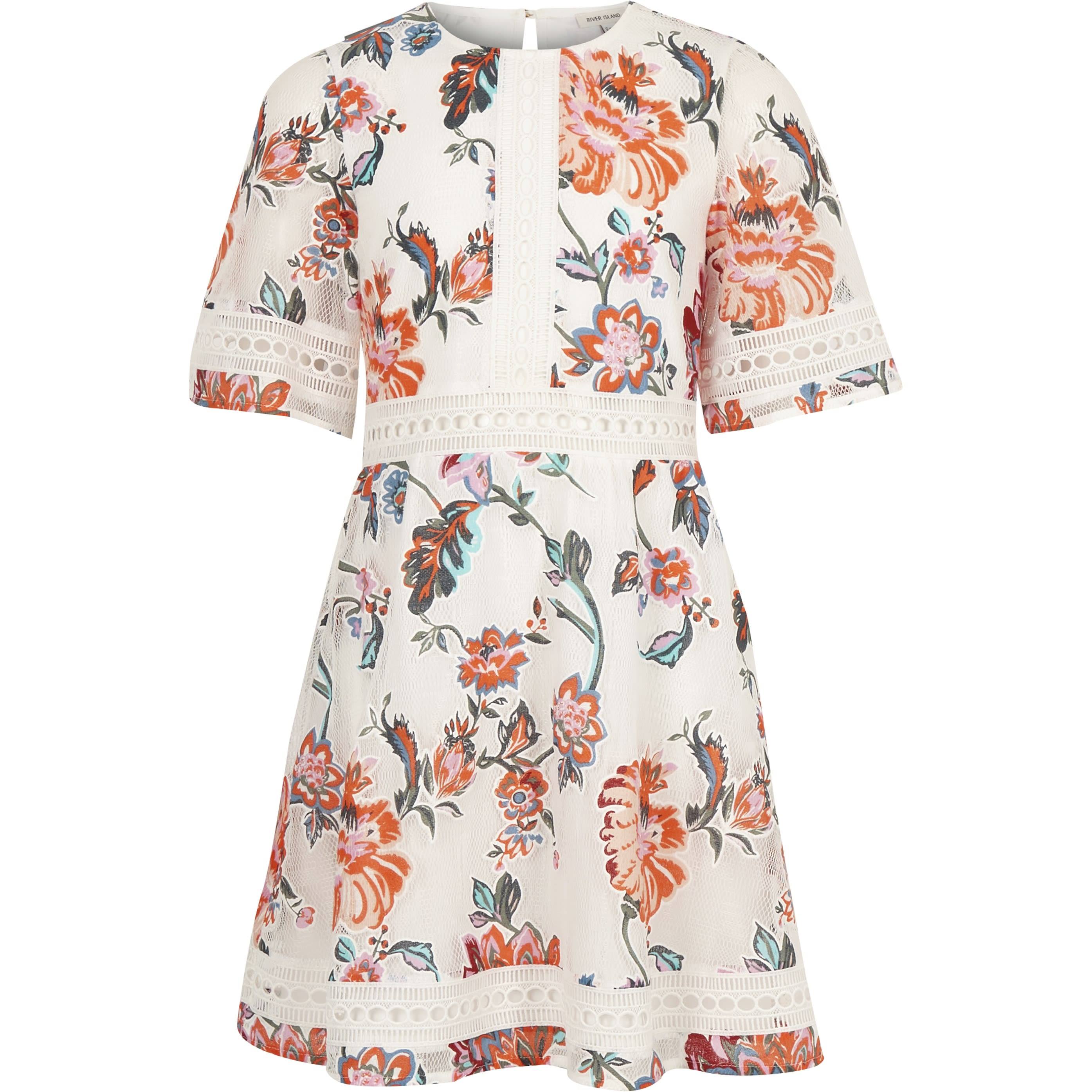 RIVER ISLAND | Girls White lace floral prom dress | Goxip