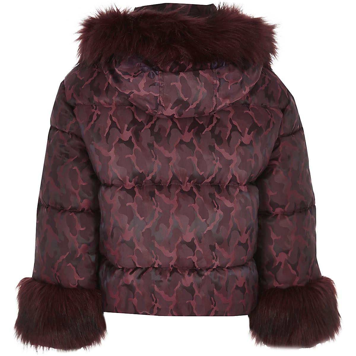 8a1da59b3 Girls red camo faux fur hooded puffer jacket - Coats - Coats ...