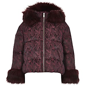 Girls red camo faux fur hooded puffer jacket