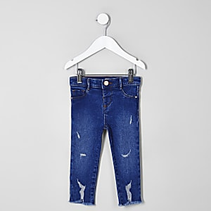 Mini girls blue ripped raw hem Molly jeggings