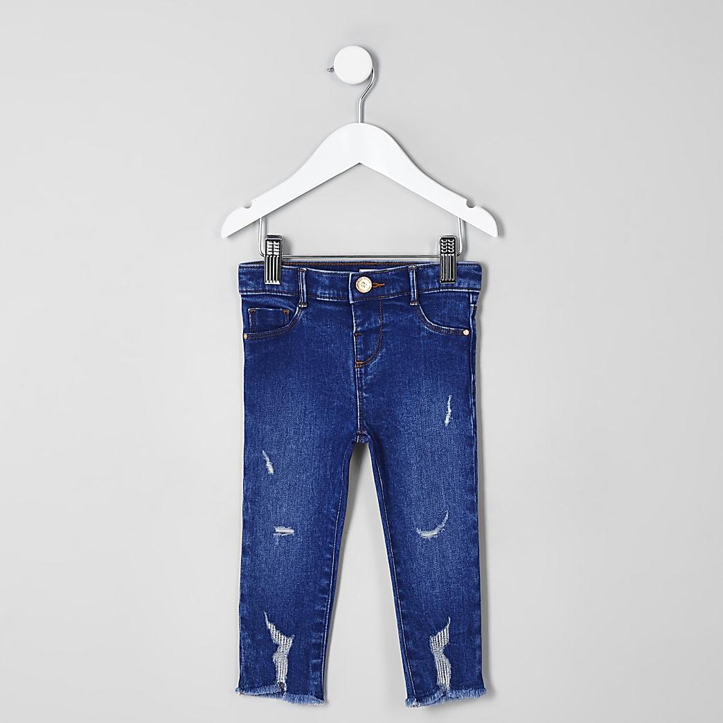 Mini – Blaue Molly-Jeggings im Used-Look für Mädchen